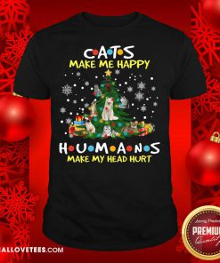 Cats Make Me Happy Humans Make My Head Hurt Ugly Merry Christmas Shirt - Design By Reallovetees.com