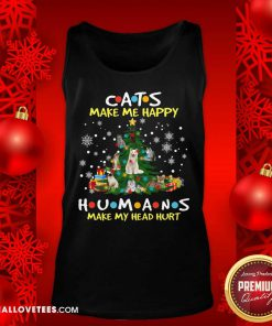 Cats Make Me Happy Humans Make My Head Hurt Ugly Merry Christmas Tank Top - Design By Reallovetees.com