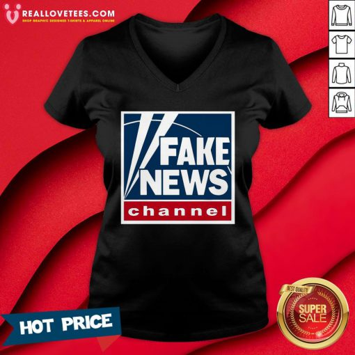 Pro Fake News Channel V-neck - Design By Reallovetees.com