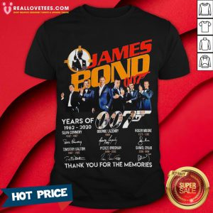 Pro James Bond 007 Years Of 1962 2020 Signatures Thank You For The Memories Shirt - Design By Reallovetees.com