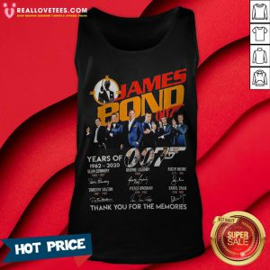 Pro James Bond 007 Years Of 1962 2020 Signatures Thank You For The Memories Tank Top - Design By Reallovetees.com