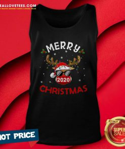Pro Reindeer In Mask Shirt Funny Merry Christmas 2020 Tank Top - Design By Reallovetees.com