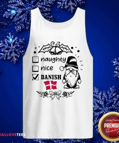 Naughty Danish Nice Gnome Merry Christmas Tank Top - Design By Reallovetees.com