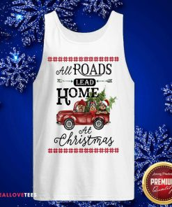 All Roads Lead Home At Christmas Red Truck Bird Xmas Tank Top - Design By Reallovetees.com