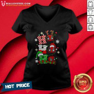 Sweet Deadpool Ho Ho Ho Merry Christmas V-neck - Design By Reallovetees.com