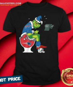 Sweet The Grinch Buffalo Bills Shit On Toilet New England Patriots Christmas Shirt - Design By Reallovetees.com