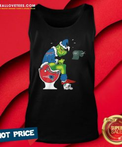 Sweet The Grinch Buffalo Bills Shit On Toilet New England Patriots Christmas Tank Top - Design By Reallovetees.com