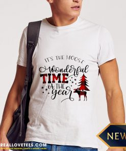 Top Plaid It's The Moose Wonderful Time Of The Year Christmas Shirt - Design By Reallovetees.com