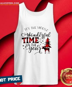 Top Plaid It's The Moose Wonderful Time Of The Year Christmas Tank Top - Design By Reallovetees.com
