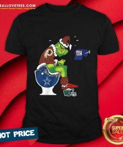 Vip The Grinch Washington Football Team Shit On Toilet Dallas Cowboys And Other Teams Christmas Shirt - Design By Reallovetees.com
