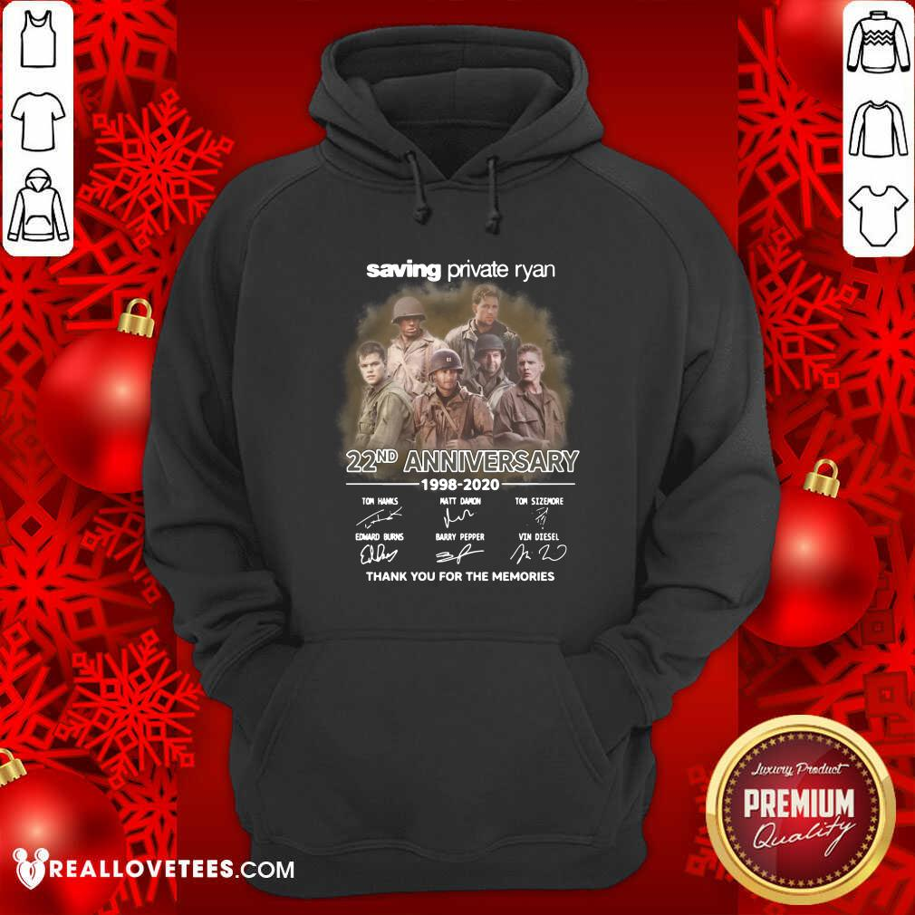 Saving Private Ryan 22nd Anniversary 1988 2020 Thank You For The Memories Signatures Hoodie - Design By Reallovetees.com