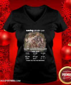 Saving Private Ryan 22nd Anniversary 1988 2020 Thank You For The Memories Signatures V-neck - Design By Reallovetees.com