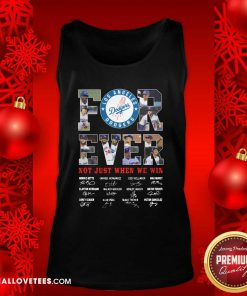 Forever Not Just When We Win Los Angeles Dodgers Team Signatures Tank Top - Design By Reallovetees.com