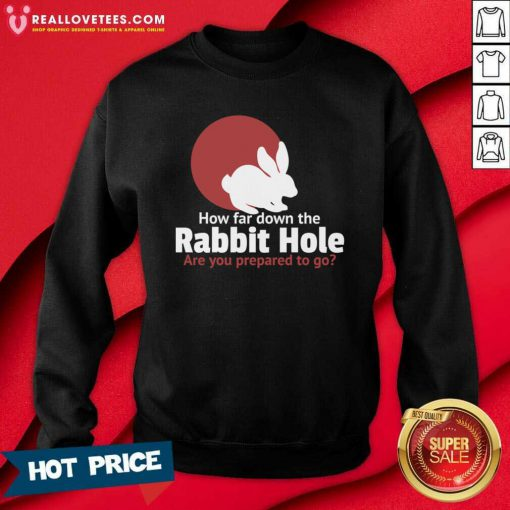 How Far Down The Rabbit Hole Are You Prepared To Go Sweatshirt - Design By Reallovetees.com