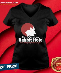 How Far Down The Rabbit Hole Are You Prepared To Go V-neck - Design By Reallovetees.com