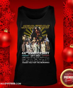 Start Wars 44th Anniversary 1977 2021 Signatures Thank You For The Memories Tank Top - Design By Reallovetees.com