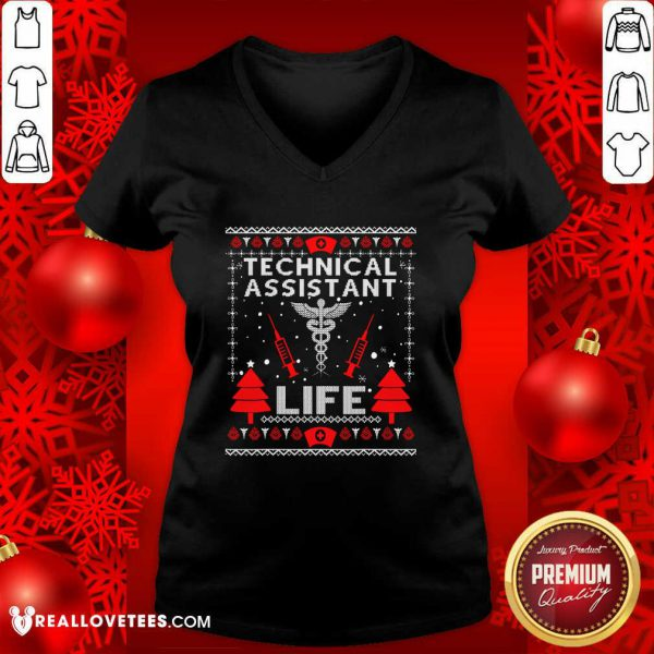 Teaching Assistant Life Cute Gift Ugly Christmas Medical V-neck - Design By Reallovetees.com