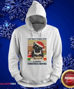 Black Cat I Just Want To Bake Stuff And Watch Christmas Movie Vintage Hoodie - Design By Reallovetees.com
