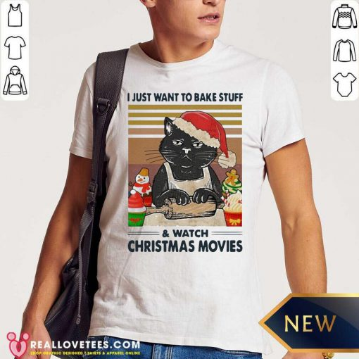 Black Cat I Just Want To Bake Stuff And Watch Christmas Movie Vintage Shirt - Design By Reallovetees.com