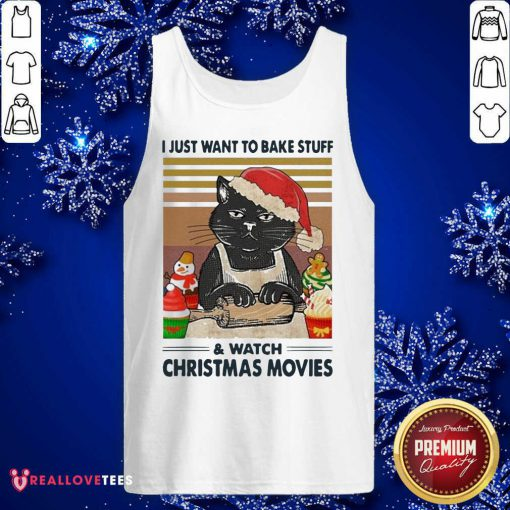 Black Cat I Just Want To Bake Stuff And Watch Christmas Movie Vintage Tank Top - Design By Reallovetees.com