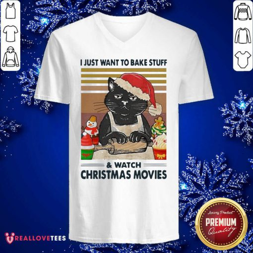 Black Cat I Just Want To Bake Stuff And Watch Christmas Movie Vintage V-neck - Design By Reallovetees.com