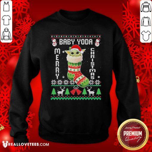 Baby Yoda Hat Santa Ugly Merry Christmas 2020 Sweatshirt - Design By Reallovetees.com