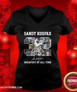 Sandy Koufax 32 Greatest Of All Time Signature V-neck - Design By Reallovetees.com
