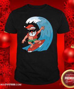 Santa Surfing Christmas Shirt - Design By Reallovetees.com