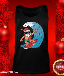 Santa Surfing Christmas Tank Top - Design By Reallovetees.com