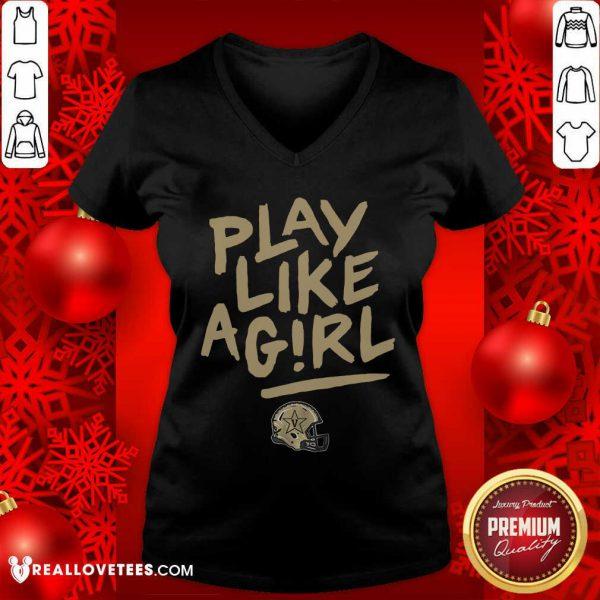 Play Like A Girl V-neck - Design By Reallovetees.com