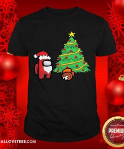 Among Us Hat Santa And Tree Pine Merry Christmas Shirt - Design By Reallovetees.com