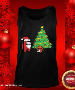 Among Us Hat Santa And Tree Pine Merry Christmas Tank Top - Design By Reallovetees.com