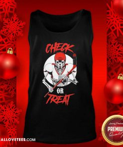 Skeleton Hockey Check Or Treat Tank Top - Design By Reallovetees.com