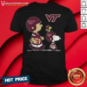 The Peanuts Charlie Brown And Snoopy Woodstock Virginia Tech Hokies Football Shirt - Design By Reallovetees.com