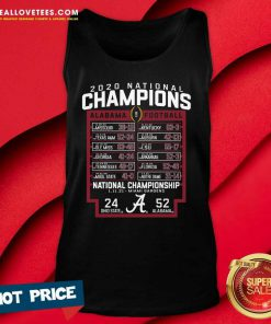 Alabama Crimson Tide Blue 84 College Football Playoff 2020 National Champions Schedule Tank Top