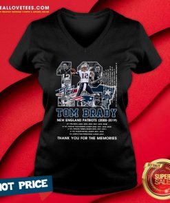 Number 12 Tom Brady New England Patriots 2000 2019 Signature V-neck