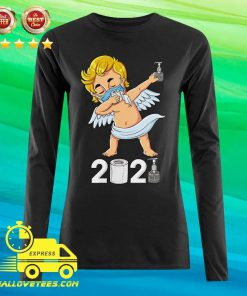 Dabbing Cupid In A Mask Funny Valentines Day 2021 Dab Long-sleeved