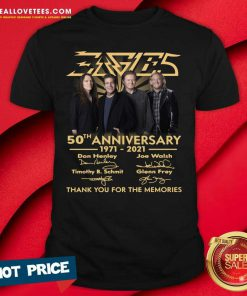Eagles 50th Anniversary 1971 2021 Thank You For The Memories Signatures Tee Shirt