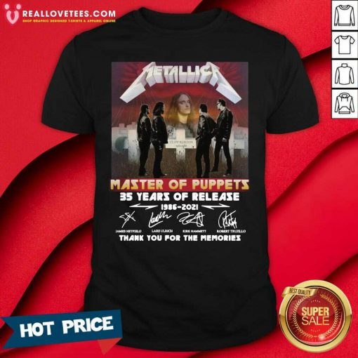 Metallica Master Of Puppets 35 Years Of Release Thank You For The Memories Signatures Shirt
