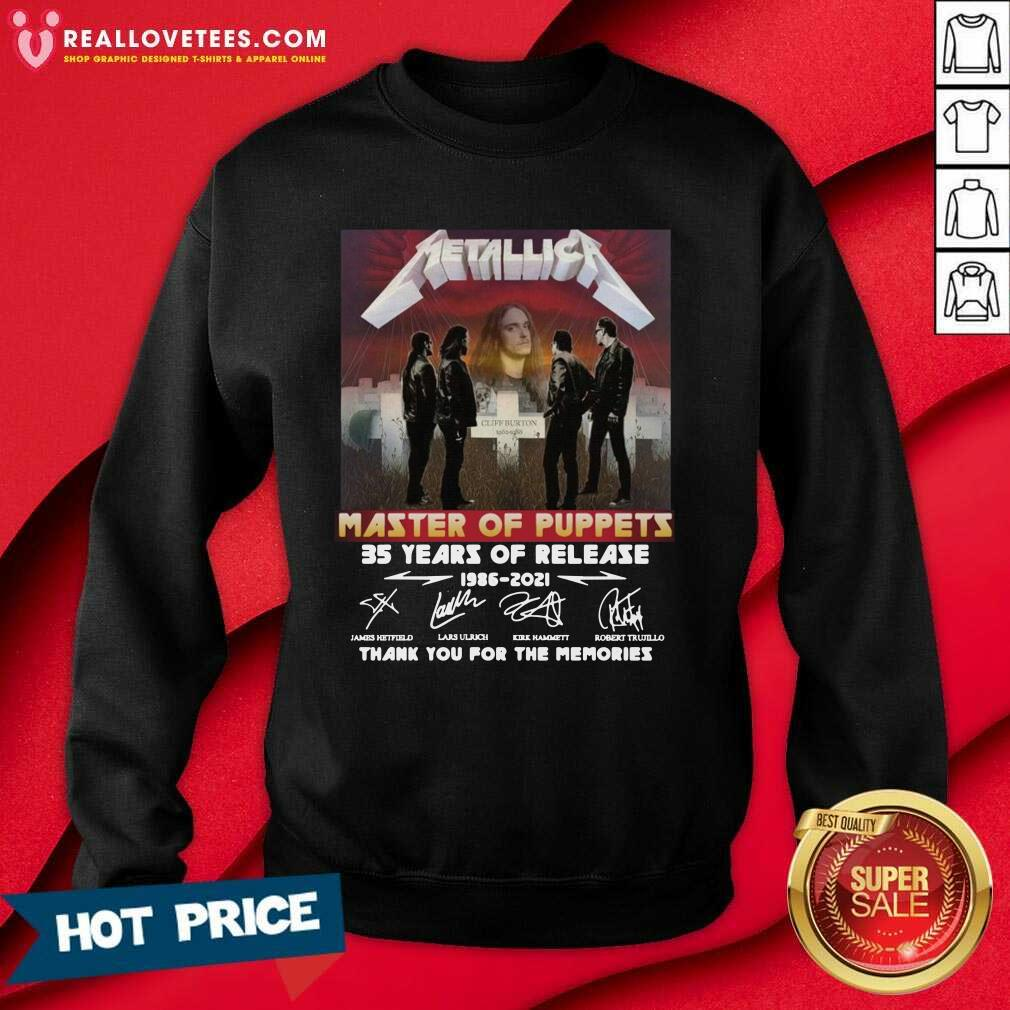 Metallica Master Of Puppets 35 Years Of Release Thank You For The Memories Signatures Sweatshirt