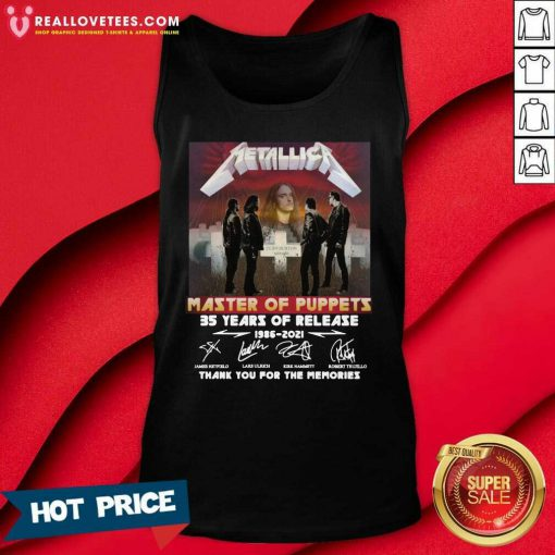 Metallica Master Of Puppets 35 Years Of Release Thank You For The Memories Signatures Tank Top
