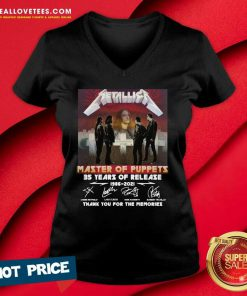 Metallica Master Of Puppets 35 Years Of Release Thank You For The Memories Signatures V-neck