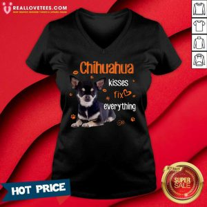 Chihuahua Kisses Fix Everything V-neck - Design By Reallovetees.com