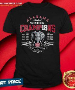 Alabama Crimson Tide 18-Time Football National Champions Elephant Engraving shirt