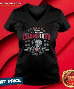 Alabama Crimson Tide 18-Time Football National Champions Elephant Engraving V-neck