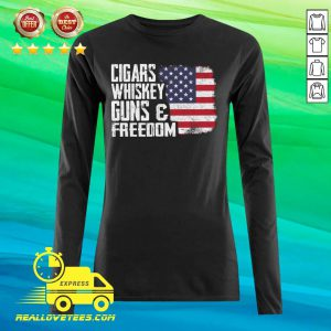 Cigars Whiskey Guns And Freedom American Flag Long-sleeved