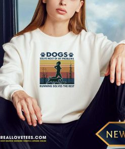 Dogs Solve Most Of My Problems Running Solves The Rest Vintage Retro Long-sleeved