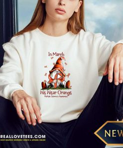 Gnome In March We Wear Orange Multiple Sclerosis Awareness Long-sleeved