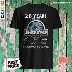 28 Years 1993 2021 Jurassic World Thank You For The Memories Signatures Shirt