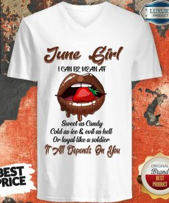 Lips Strawberry June Girl All Depend On You V-neck